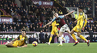 Burnley's Ashley Barnes has his close range effort charged down and deflected off target by Brighton & Hove Albion's Gaetan Bong (left) <br /> <br /> Photographer Rich Linley/CameraSport<br /> <br /> The Premier League - Burnley v Brighton and Hove Albion - Saturday 8th December 2018 - Turf Moor - Burnley<br /> <br /> World Copyright © 2018 CameraSport. All rights reserved. 43 Linden Ave. Countesthorpe. Leicester. England. LE8 5PG - Tel: +44 (0) 116 277 4147 - admin@camerasport.com - www.camerasport.com