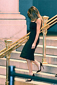 First lady Melania Trump departs the Trump International Hotel following dinner with United States President Donald J. Trump and Barron Trump in Washington, DC on Saturday, October 14, 2017.<br /> Credit: Ron Sachs / Pool via CNP