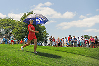 Jin Young Ko (KOR) departs the first tee during Sunday's final round of the 72nd U.S. Women's Open Championship, at Trump National Golf Club, Bedminster, New Jersey. 7/16/2017.<br /> Picture: Golffile | Ken Murray<br /> <br /> <br /> All photo usage must carry mandatory copyright credit (&copy; Golffile | Ken Murray)
