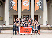 Graduating Occidental College seniors (class of 2015) take place in a group photo on the steps of Thorne Hall, May 8, 2015.<br /> (Photo by Marc Campos, Occidental College Photographer)