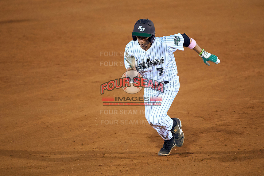 Stetson Hatters shortstop Matt Morales (7) during a game against the Siena Saints on February 23, 2016 at Melching Field at Conrad Park in DeLand, Florida.  Stetson defeated Siena 5-3.  (Mike Janes/Four Seam Images)
