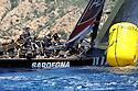 Louis Vuitton Trophy La Maddalena 1 giugno 2010. I francesi di Aleph impegnati in manovra ad un giro di boa durante una regata con Luna Rossa nelle ultime fasi del Round Robin