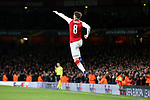 Aaron Ramsey of Arsenal celebrates scoring his 2nd goal and his side's 3rd goal during the UEFA Europa League Quarter-Final 1st leg match at the Emirates Stadium, London. Picture date 5th April 2018. Picture credit should read: Charlie Forgham-Bailey/Sportimage
