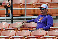 Head coach Monte Lee (18) of the Clemson Tigers watches his team in a Purple-Orange fall scrimmage on Sunday, October 2, 2016, at Doug Kingsmore Stadium in Clemson, South Carolina. (Tom Priddy/Four Seam Images)