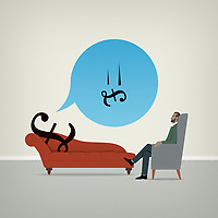 British pound sign on psychiatrists couch worrying about falling value