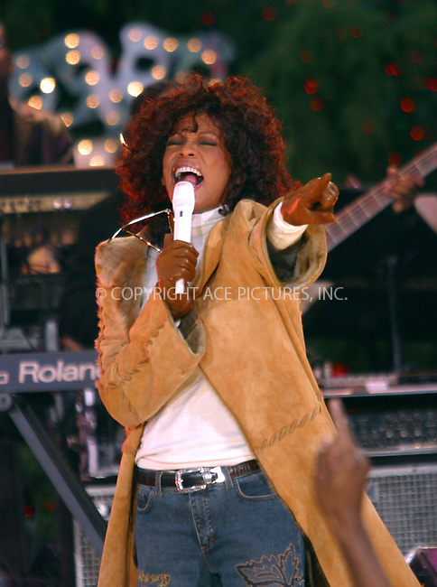 Whitney Houston performs live for an NBC show at Lincoln Center, New York. December 8, 2002. Please byline: NY Photo Press. REF: MM_FF190 -- THIS REFERENCE CODE MUST APPEAR ON YOUR SALES REPORT, THANK YOU...*   ..*PAY-PER-USE*      ....NY Photo Press:  ..phone (646) 267-6913;   ..e-mail: info@nyphotopress.com