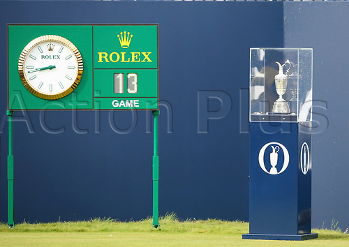 20th July 2017, Royal Birkdale Golf Club, Southport, England; The 146th Open Golf Championship ; First round ; A view of the claret jug trophy on display on the first tee