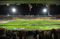 The sky lights up with pyrotechnics before kickoff during the Super 15 rugby match between the Hurricanes and Crusaders at Westpac Stadium, Wellington, New Zealand on Saturday, 21 April 2012. Photo: Dave Lintott / lintottphoto.co.nz