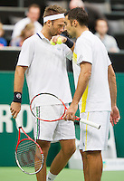 14-02-13, Tennis, Rotterdam, ABNAMROWTT, Marcel Granollers, Marc Lopez - Robert Linstedt, Nedad Zimonjic