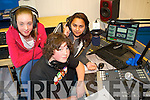ON THE AIR: As part of the KDYS Multimedia Mentor Project trainees were taken to the Radio Kerry Training Centre to learn the ropes about the radio industry. From l-r were: Carmel Sayers, Zach Buggy and Denisa Hrickova.