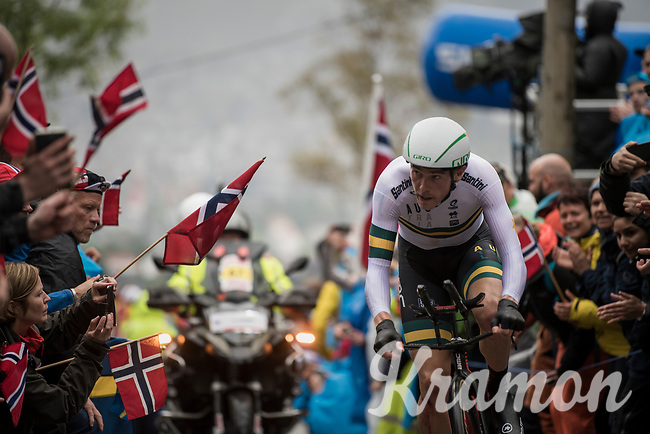 Rohan Dennis (AUS/BMC) up Mount Fløyen<br /> <br /> Men Elite Individual Time Trial<br /> <br /> UCI 2017 Road World Championships - Bergen/Norway