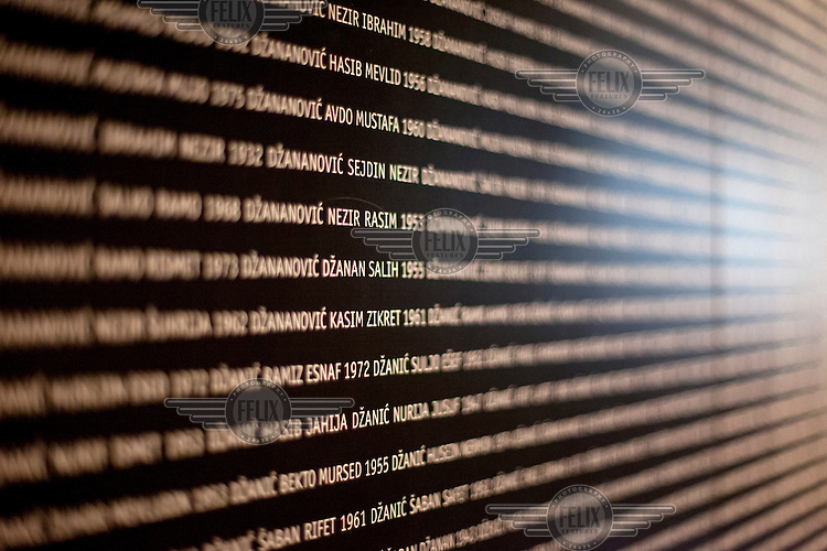 The names of those killed and missing displayed at the Gallery 11/07/95 exhibition space in Sarajevo whose mission is to preserve the memory of Srebrenica and 8372 people who lost their lives during the genocide.