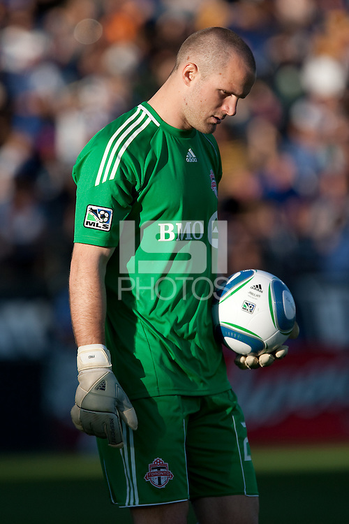 Stefan Frei carries the ball. Toronto FC defeated the San Jose Earthquakes 3-1 at Buck Shaw Stadium in Santa Clara, California on May 29th, 2010.