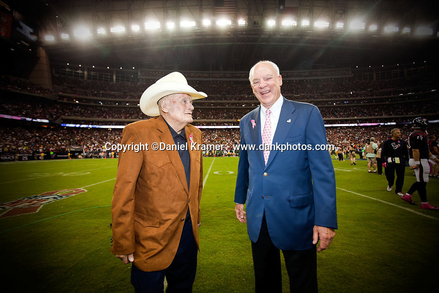 Former Houston Oilers coach Bum Phillips and Houston Texans owner Bob McNair prior to the Oct. 12, 2013 game against the Green Bay Packers at Reliant Stadium in Houston, TX.