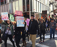 NEW YORK, NY - NOVEMBER 19:  Protesters voicing their opinions in opposition to U.S. President-Elect Donald Trump, his proposed policies and Cabinet selections including Alt-Right member Brietbart's Steve Bannon as they march in NYC's Chelsea neighborhood in New York, New York on November 19, 2016.  Photo Credit: Rainmaker Photo/MediaPunch
