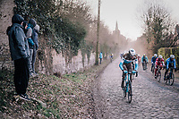 Stijn Vandenbergh (BEL/AG2R-La Mondiale) taking the road less ridden...<br /> <br /> 50th GP Samyn 2018<br /> Quaregnon &gt; Dour: 200km (BELGIUM)