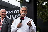 13th March 2020; Melbourne Grand Prix Circuit, Melbourne, Victoria, Australia; Formula One, Australian Grand Prix, Practice Day; Paul Little, Chase Carey talks to the media about the cancellation of the Grand Prix  due to one of the Renault crew being tested positive for the Corona Virus