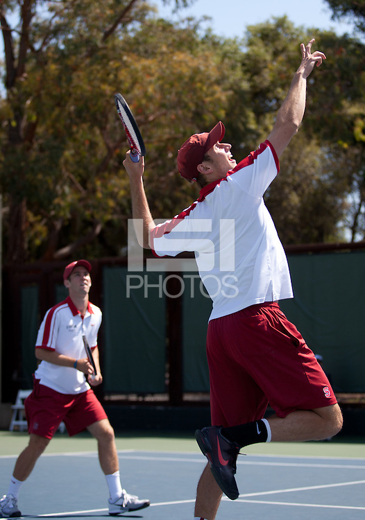 STANFORD, CA - May 30, 2011: NCAA Tennis Doubles Championships, Finals at Taube Tennis Center, Stanford vs. Texas A&M. Stanford lost 7-6 (4), 6-3.