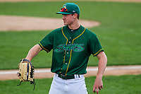 Beloit Snappers outfielder Cole Gruber (6) warms up prior to a Midwest League game against the Peoria Chiefs on April 15, 2017 at Pohlman Field in Beloit, Wisconsin.  Beloit defeated Peoria 12-0. (Brad Krause/Four Seam Images)