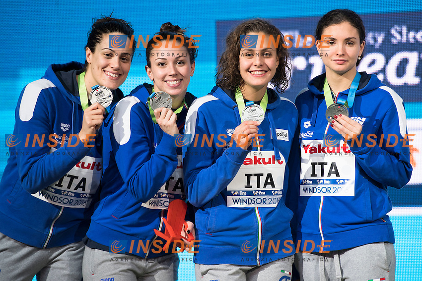 Italy ITA Silver Medal <br /> SCALIA Silvia CARRARO Martina DI PIETRO Silvia FERRAIOLI Erika<br /> Women's 4x50m Medley Relay<br /> 13th Fina World Swimming Championships 25m <br /> Windsor  Dec. 7th, 2016 - Day02 Finals<br /> WFCU Centre - Windsor Ontario Canada CAN <br /> 20161207 WFCU Centre - Windsor Ontario Canada CAN <br /> Photo &copy; Giorgio Scala/Deepbluemedia/Insidefoto