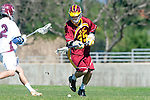Los Angeles, CA 02/20/10 - Will Indvik (USC # 35) in action during the USC-Loyola Marymount University MCLA/SLC divisional game at Leavey Field (LMU).  LMU defeated USC 10-7.