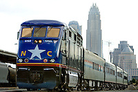 An Amtrak train sits in the Charlotte, NC, station.