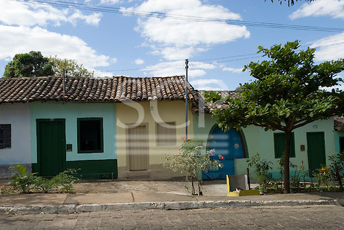 Goias Velho, Brazil. Well preserved colonial town; colonial architecture; row of small houses painted in pastel colours.