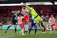 Jesse Joronen of Stevenage punches clear during the Sky Bet League 2 match between Stevenage and Wycombe Wanderers at the Lamex Stadium, Stevenage, England on 17 October 2015. Photo by PRiME Media Images.