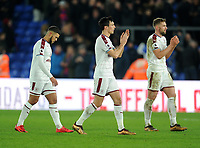 Burnley's Nahki Wells, Jack Cork and Charlie Taylor applauds the fans at the final whistle <br /> <br /> Photographer Ashley Crowden/CameraSport<br /> <br /> The Premier League - Crystal Palace v Burnley - Saturday 13th January 2018 - Selhurst Park - London<br /> <br /> World Copyright &copy; 2018 CameraSport. All rights reserved. 43 Linden Ave. Countesthorpe. Leicester. England. LE8 5PG - Tel: +44 (0) 116 277 4147 - admin@camerasport.com - www.camerasport.com