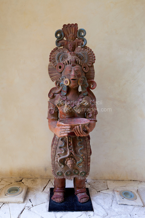 Replica of a Mayan Ceramic Figure Decorating Modern Apartment, Playa del Carmen, Riviera Maya, Yucatan, Mexico.