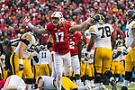 Wisconsin Badgers linebacker Andrew Van Ginkel (17) celebrates a QB sack during an NCAA College Big Ten Conference football game against the Iowa Hawkeyes Saturday, November 11, 2017, in Madison, Wis. The Badgers won 38-14. (Photo by David Stluka)
