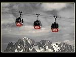 Photoshop, desaturation of selective colors. Hellbrenner Gondola, Aiguille du Midi, Chamonix, France.