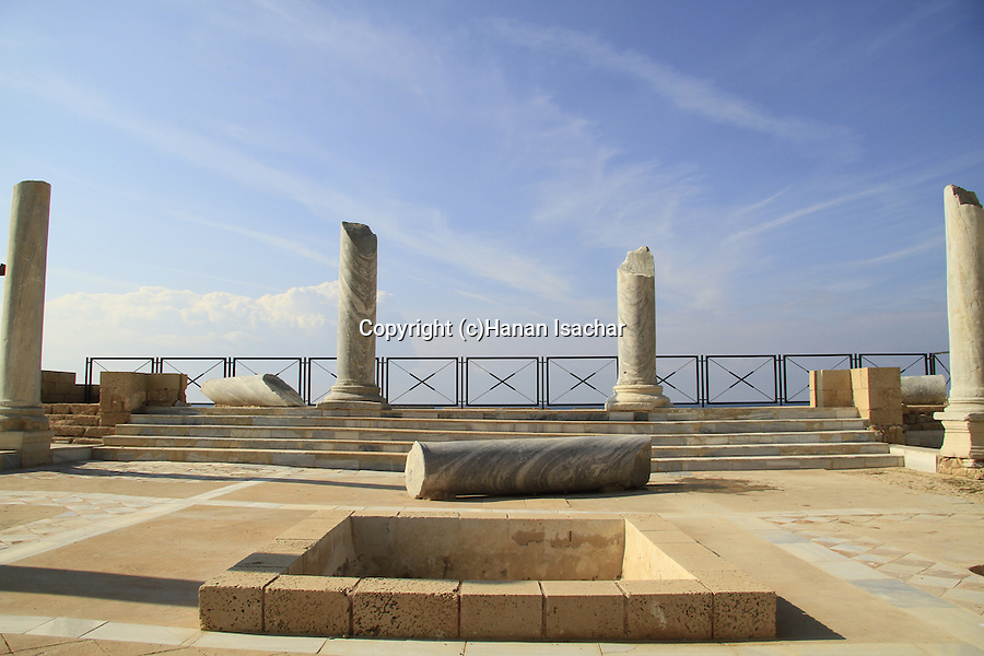 Israel, Sharon region, the Roman bathhouse complex in Caesarea
