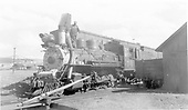 3/4 fireman's-side view of C&amp;S #74 near the Leadville turntable.<br /> C&amp;S  Leadville, CO  Taken by Kille, - 6/16/1942