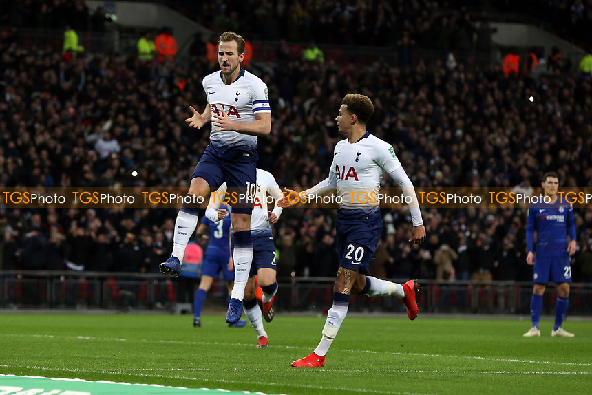 Harry Kane of Tottenham Hotspur celebrates scoring the first goal during Tottenham Hotspur vs Chelsea, Caraboa Cup Football at Wembley Stadium on 8th January 2019