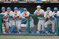 UCLA's bench during Game Two of the NCAA Division One Men's College World Series Finals on June 29th, 2010 at Johnny Rosenblatt Stadium in Omaha, Nebraska.  (Photo by Andrew Woolley / Four Seam Images)