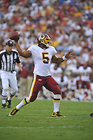 21 August 2010:  Redskins QB Donovan McNabb (5) throws..The Baltimore Ravens defeated the Washington Redskins 23-3 during their preseason game 'The Battle of the Beltway' at FedEx Field in Landover, MD.
