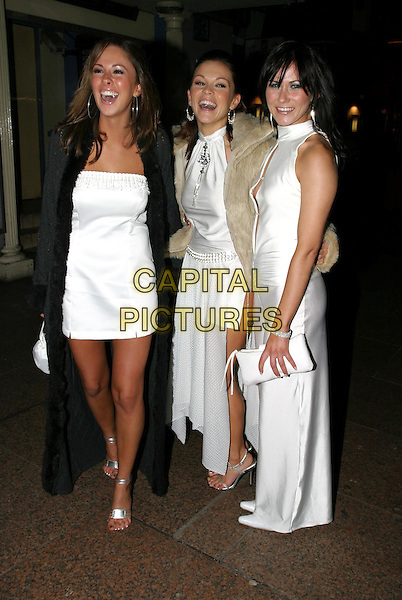 TNT.leaving Shoreditch premiere.27/11/03.girlband, white matching outfits, t.n.t..www.capitalpictures.com.sales@capitalpictures.com.© Capital Pictures.
