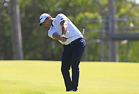 Dimitrios Papadatos (AUS) in action on the 18th during Round 2 of the ISPS Handa World Super 6 Perth at Lake Karrinyup Country Club on the Friday 9th February 2018.<br />