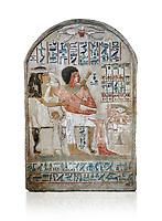 Ancient Egyptian stele of Djehutynefer called Seshu, Scribe, limestone, New Kingdom, 18th Dynasty, (1500-14253 BC), Thebes, Old Fund cat 1638. Egyptian Museum, Turin. white background,<br /> <br /> Djehutynefer called Seshu was the accountant scribe of cattle and fowl in the temple of Amon, and his wife the house mistress Benbu