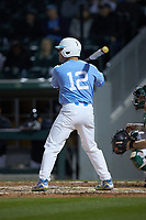 Josh Ladowski (12) of the North Carolina Tar Heels at bat against the Charlotte 49ers at BB&T BallPark on March 27, 2018 in Charlotte, North Carolina. The Tar Heels defeated the 49ers 14-2. (Brian Westerholt/Four Seam Images)