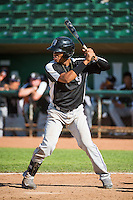 Daniel Suero (3) of the Grand Junction Rockies at bat against the Ogden Raptors in Pioneer League action at Lindquist Field on July 5, 2015 in Ogden, Utah. Ogden defeated Grand Junction 12-2.  (Stephen Smith/Four Seam Images)