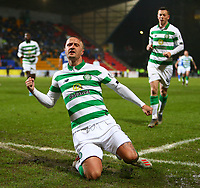 29th January 2020; McDairmid Park, Perth, Perth and Kinross, Scotland; Scottish Premiership Football, St Johnstone versus Celtic; Leigh Griffiths of Celtic slides on his knees to celebrate putting Celtic 3-0 up in the 26th minute