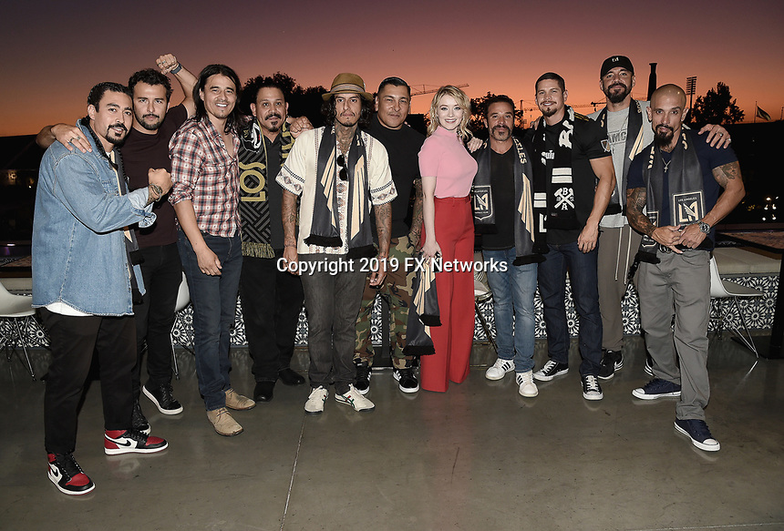 """LOS ANGELES - AUGUST 21: Gino Vento, Salvador Chacon, Antonio Jaramillo, Emilio Rivera, Richard Cabral, Frankie Loyal, Sarah Bolger, Michael Irby, JD Pardo, Clayton Cardenas and Joseph Lucero at FX's """"Mayans M.C."""" Activation at Los Angeles Football Club at Banc of California Stadium on August 21, 2019 in Los Angeles, California. (Photo by Scott Kirkland/FX Networks/PictureGroup)"""