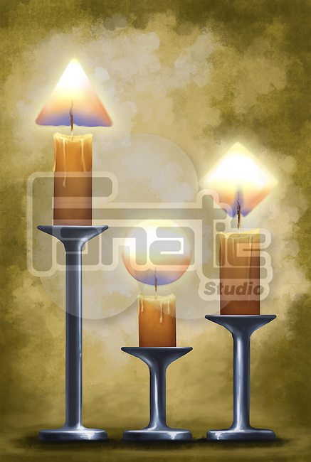 Illustrative image of candles on stands