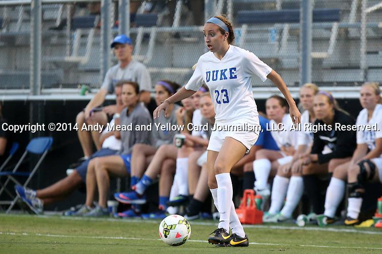 14 August 2014: Duke's Danielle Duhl. The Duke University Blue Devils hosted the University of South Carolina Gamecocks at Koskinen Stadium in Durham, NC in a 2014 NCAA Division I Women's Soccer preseason match. Duke won the exhibition 2-0.