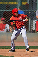 Los Angeles Angels Jahmai Jones (33) during an instructional league game against the Oakland Athletics on October 9, 2015 at the Tempe Diablo Stadium Complex in Tempe, Arizona.  (Mike Janes/Four Seam Images)