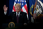 """United States President Donald J. Trump speaks during an event supporting veterans and military families in the Eisenhower Executive Office Building in Washington, D.C., U.S., on Thursday, Nov. 15, 2018. Trump today accused Robert Mueller of """"threatening"""" witnesses to cooperate in the probe into Russian meddling in the U.S. presidential election, one day after the Senate's Republican leader blocked a bid to protect the special counsel's work. <br /> Credit: Andrew Harrer / Pool via CNP"""