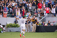 CARSON, CA - May 25, 2014: Los Angeles Galaxy midfielder Landon Donovan (10) celebrates his second goal during the LA Galaxy vs Philadelphia Union match at the StubHub Center in Carson, California. Final score, LA Galaxy 4, Philadelphia Union  1.