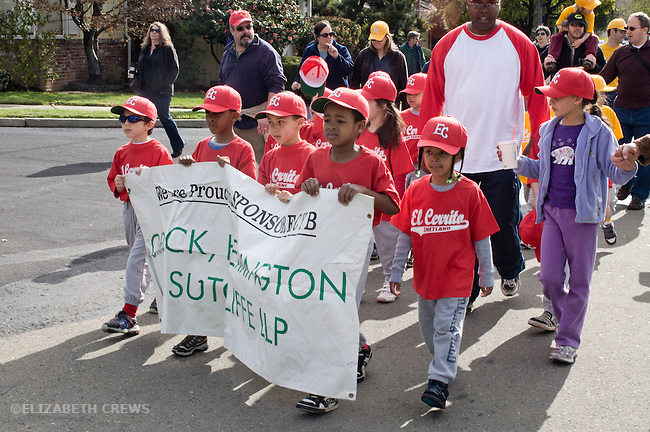 El Cerrito CA Boys ages 6-8 and parents in Little League opening day parade
